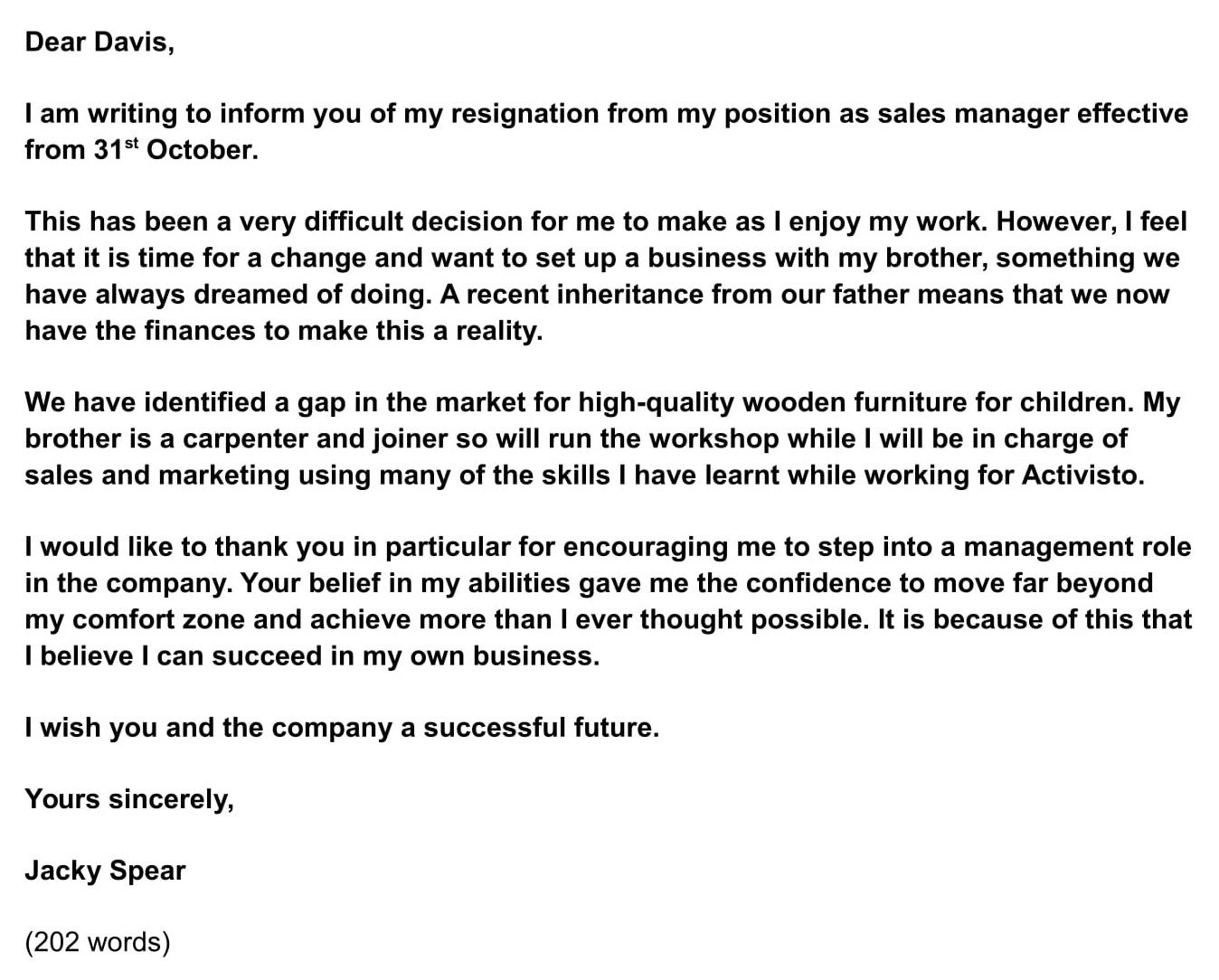 Informal Resignation Letter Sample from www.ieltsjacky.com